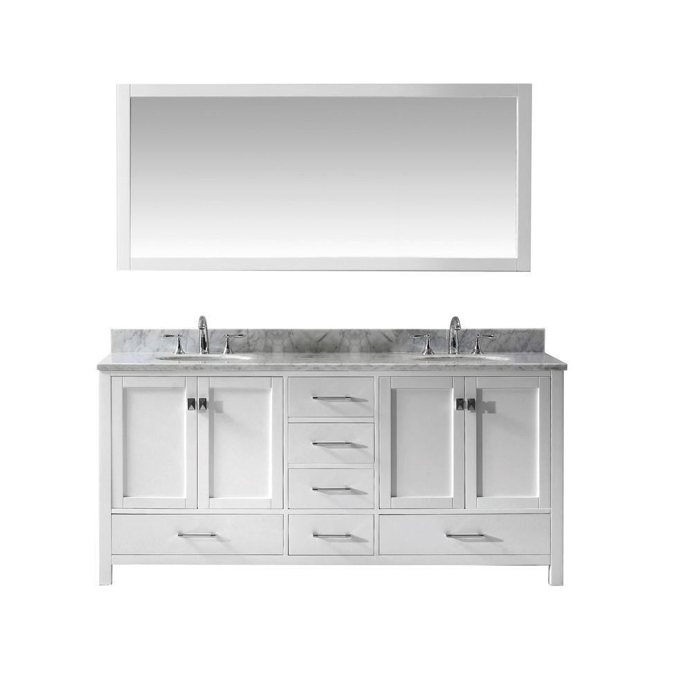 Virtu USA Caroline Avenue 72 in. W x 36 in. H Vanity with Marble Vanity Top in Carrara White with White Round Basin and Mirror