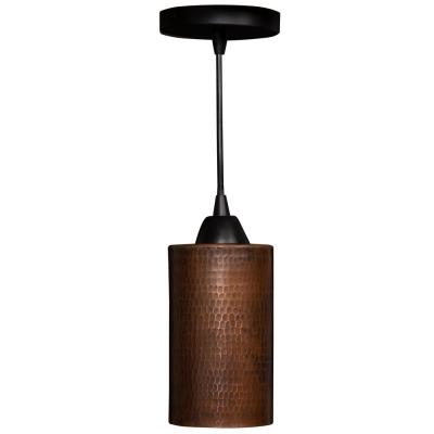 1-Light Hammered Copper Ceiling Mount Cylinder Pendant in Oil Rubbed Bronze