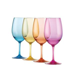 Wine Enthusiast 20 oz. Indoor/Outdoor Mixed Color Wine Glasses by Wine Enthusiast
