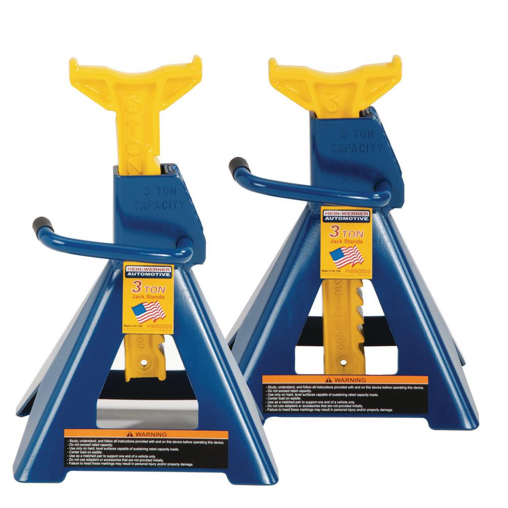 HEIN WERNER 3 Ton Heavy-Duty Jack Stands Pair w/ Formed Steel Frame Base and Ratcheting Bar