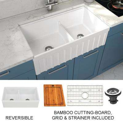 Yorkshire Farmhouse Fireclay 33 in. 55/45 Double Bowl Kitchen Sink with Cutting-Board, Grid and Strainer in White