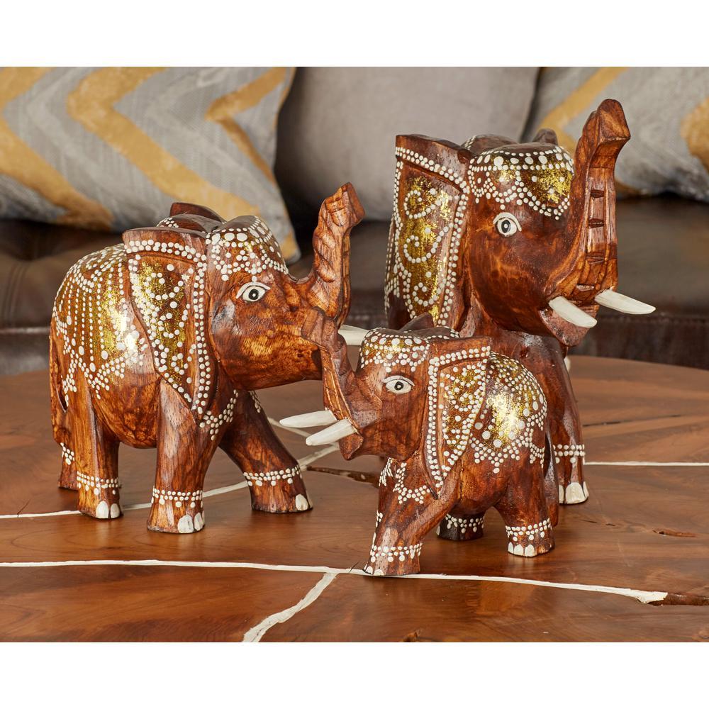 Standing Elephant Wood Sculpture (Set Of 3)