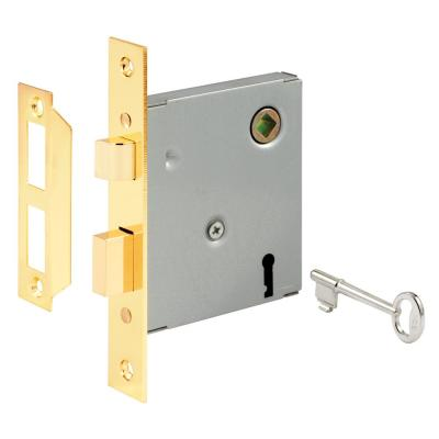 Vintage Style Mortise Lock Assembly, 5-1/2 in. Face Plate, Brass Plated Steel