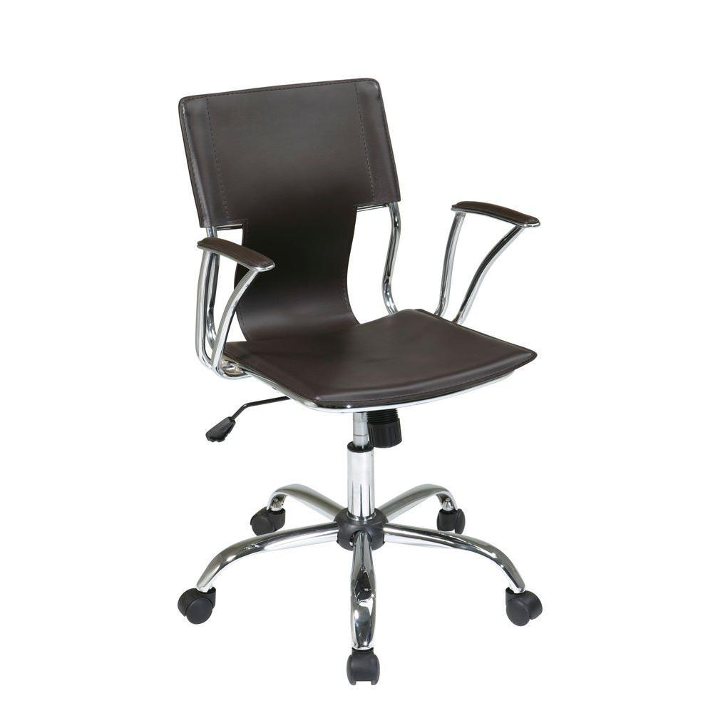 OSP Home Furnishings Dorado Espresso Vinyl Office Chair, Brown OSP Home Furnishings Dorado Espresso Vinyl Office Chair, Brown