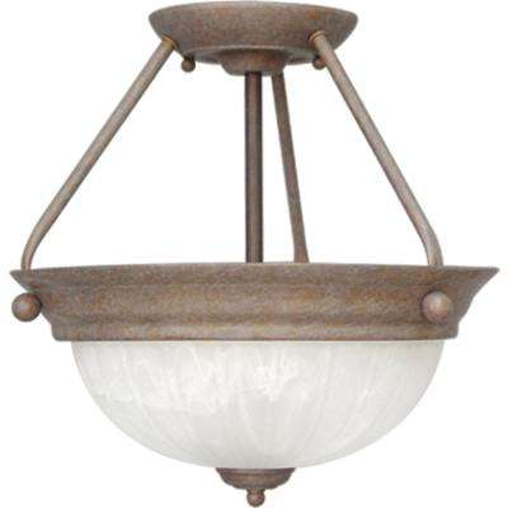 Marti 2-Light Indoor Prairie Rock Semi-Flush Mount Ceiling Fixture with Alabaster Melon Glass Bowl