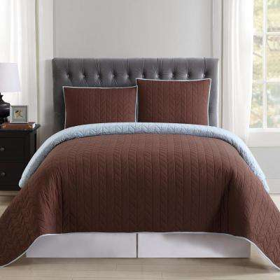 Everyday Brown and Light Blue Reversible King Quilt Set