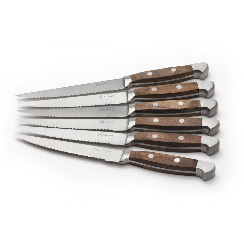 Outset Curtis Lloyd Forged Stainless Steel 6 Piece Steak Knife Set 5in Blade Ql90 The Home Depot
