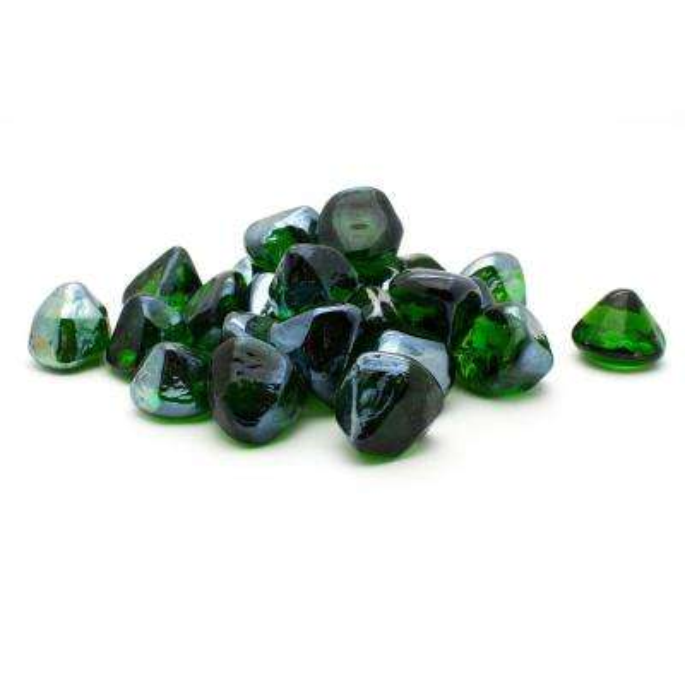 20 lb. Decorative Fire Glass Green Diamonds