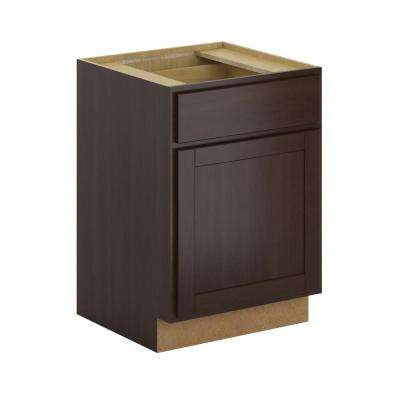 Princeton Shaker Assembled 24x34.5x24 in. Base Cabinet with Soft Close Drawer in Java