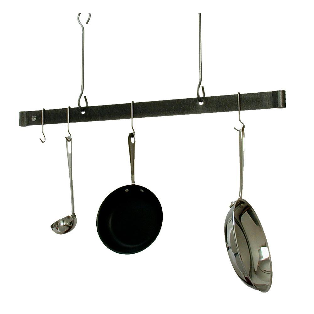 36 in. Offset Hook Ceiling Bar in Hammered Steel
