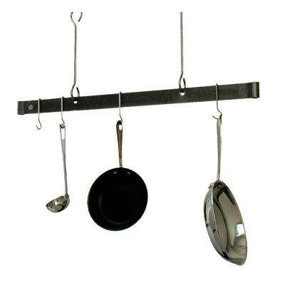 36 in. Offset Hook Ceiling Bar in Hammered Steel