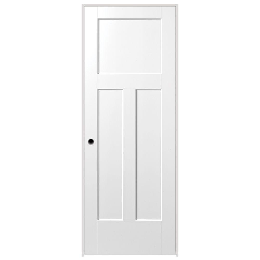 Masonite 32 in. x 80 in. Winslow 3-Panel Right-Handed Solid-Core Primed Composite Single Prehung Interior Door