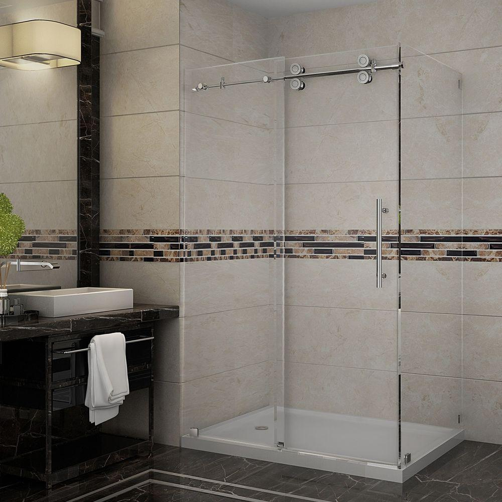 Aston Langham 48 in. x 35 in. x 77-1/2 in. Completely Frameless Shower Enclosure in Chrome with Left Base