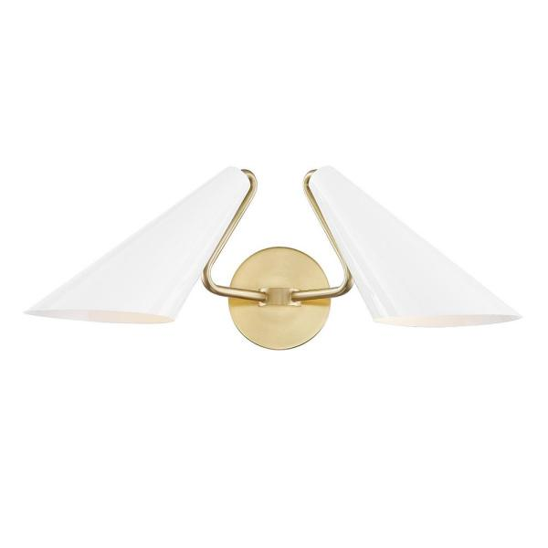 Talia 2-Light White Aged Brass Wall Sconce