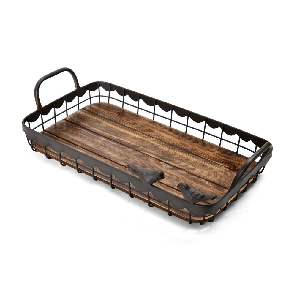 17 in. Rectangle Metal and Wood Tray