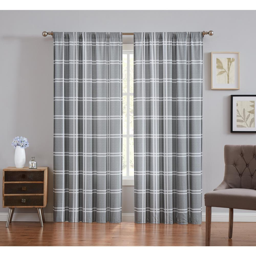 Truly Soft Leon Plaid Grey Light Filtering Window Panel Pair - 50 in. W x 84 in. L