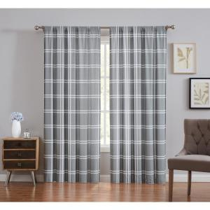 Leon Plaid Grey Light Filtering Window Panel Pair - 50 in. W x 84 in. L