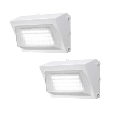 450-Watt Equivalent White Integrated Outdoor LED Wall Pack, 6800 Lumens, Dusk to Dawn Outdoor Security Light (2-Pack)