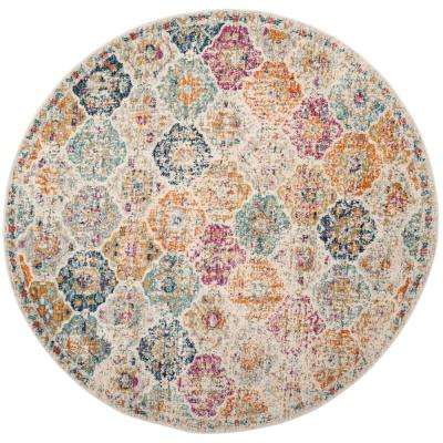 Madison Cream/Multi 6 ft. 7 in. x 6 ft. 7 in. Round Area Rug