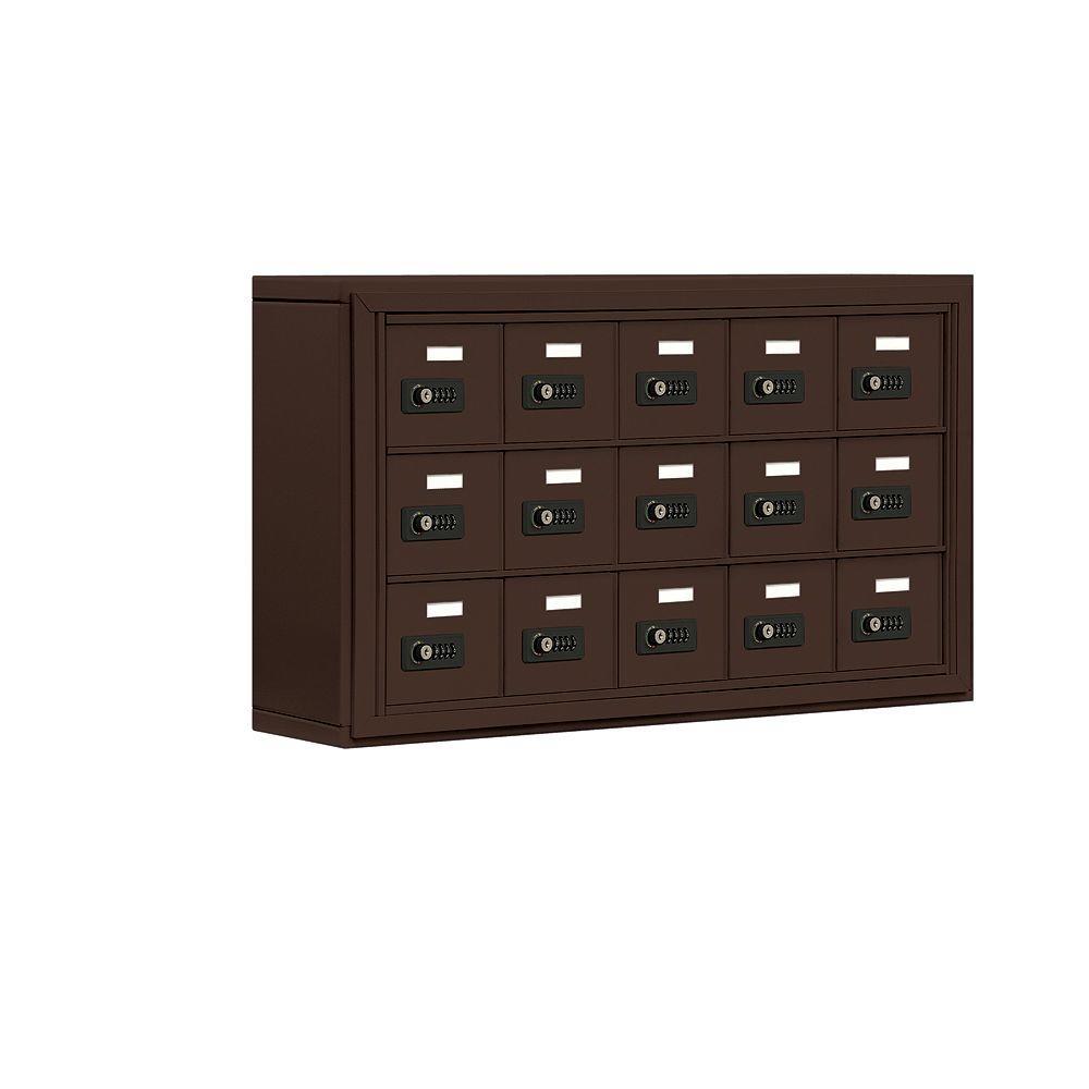 Salsbury Industries 19000 Series 37 in. W x 20 in. H x 6.25 in. D 15 A Doors S-Mount Resettable Locks Cell Phone Locker in Bronze