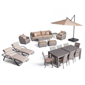 Cannes Estate Wicker 20 Piece Patio Conversation Set With Sunbrella Maxim  Beige Cushions