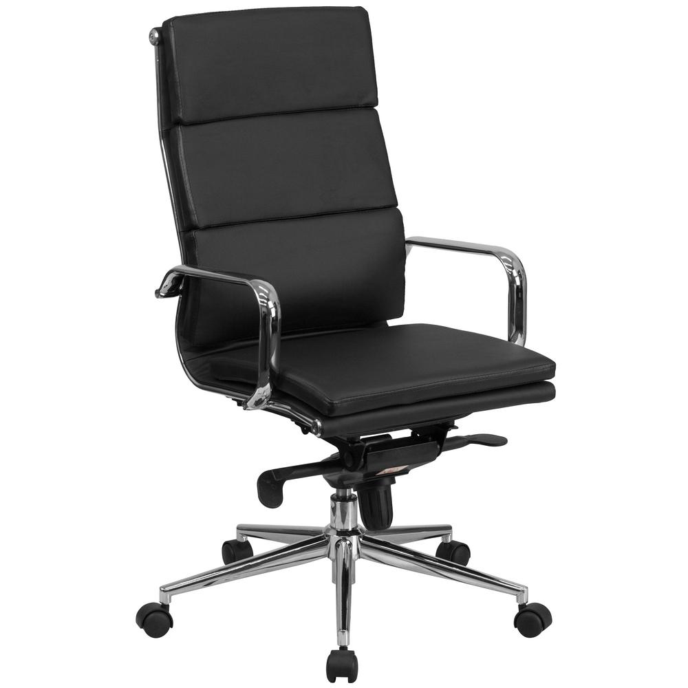 High Back Black Leather Executive Swivel Office Chair with Synchro-Tilt