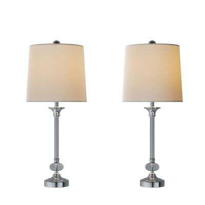 28 in. Faceted Silver Crystal Lamp (Set of 2)