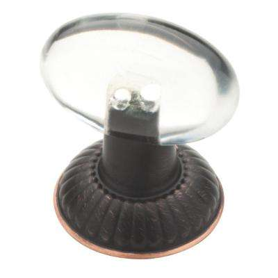 Palermo 1-1/3 in. (34mm) Venetian Bronze and Clear Oval Acrylic Cabinet Knob