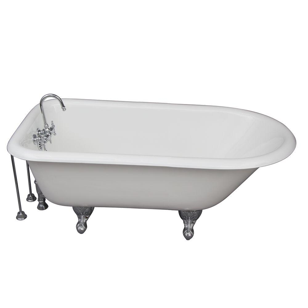 Barclay Products 5 ft. Cast Iron Ball and Claw Feet Roll Top Tub in White with Polished Chrome Accessories