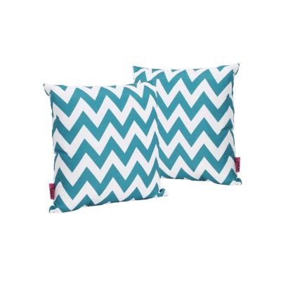 Marisol Dark Teal and White Chevron Square Outdoor Throw Pillow (2-Pack)