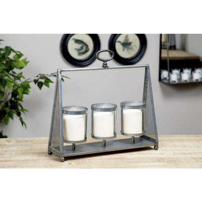 15 in. x 16 in. Dark Silver Metal and Glass 3-Light Candle Holder