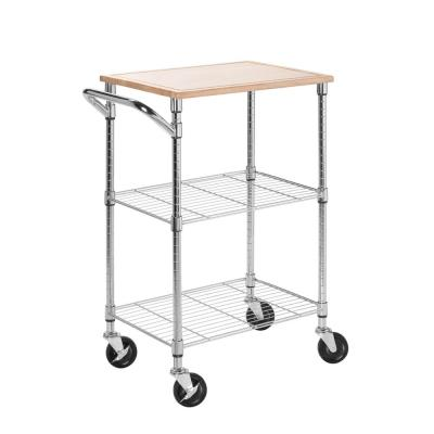 Chrome 2-Tier Kitchen Cart with Wood Top