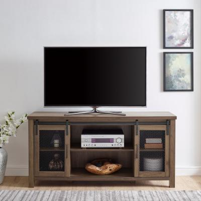 58 in. Dark Walnut Composite TV Stand 62 in. with Doors