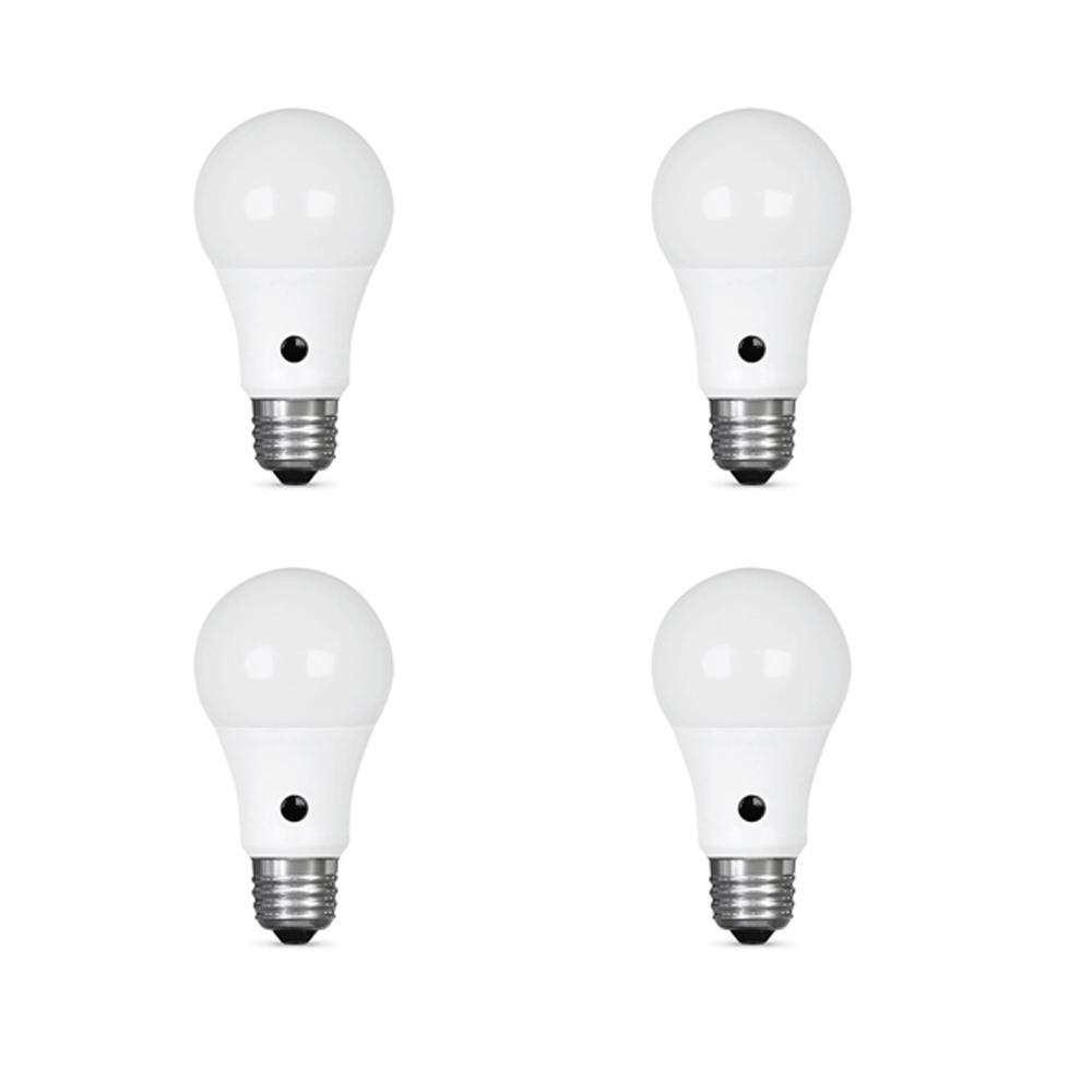 60-Watt Equivalent A19 IntelliBulb Dusk to Dawn LED Light Bulb Daylight (4-Pack)