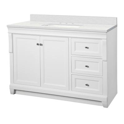 Naples 49 in. W x 22 in. D Bath Vanity Cabinet in White with Engineered Marble Vanity Top in Snowstorm with White Basin