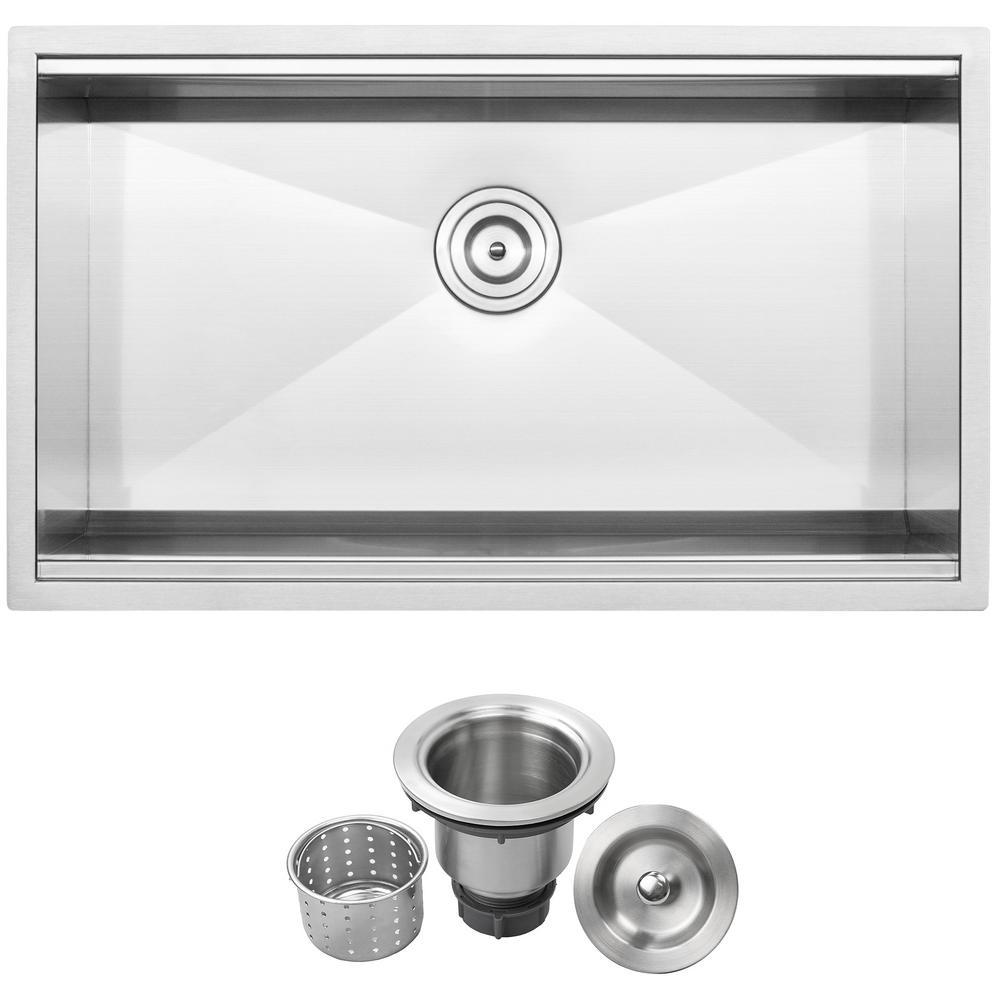 Bradford Zero Radius Undermount 16-Gauge Stainless Steel 32 in. Single Basin Kitchen Sink with Basket Strainer