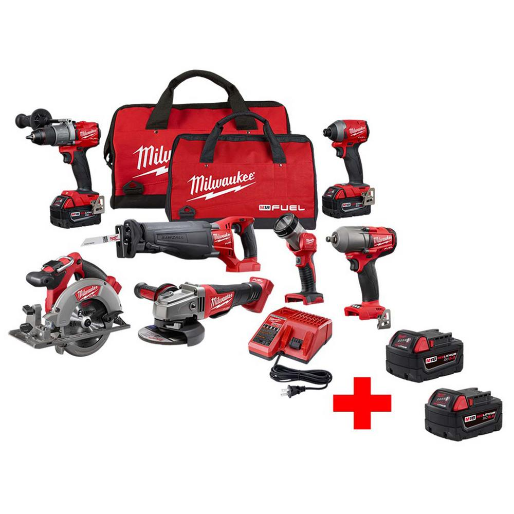 M18 FUEL 18-Volt Lithium-Ion Brushless Cordless Combo Kit (7-Tool) with Two