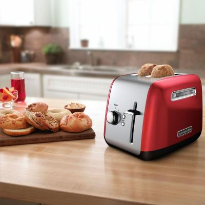 KitchenAid-2-Slice Empire Red and Silver Wide Slot Toaster with Crumb Tray