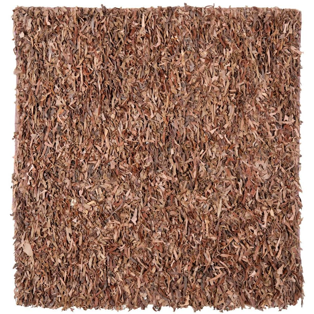Leather Shag Brown 6 ft. x 6 ft. Square Area Rug