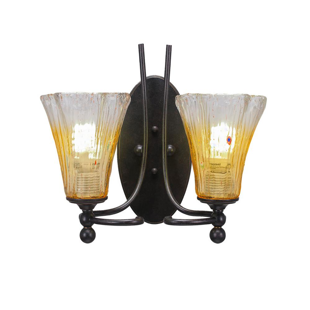 Cambridge 2-Light Dark Granite Sconce with Fluted Gold Champagne Ribbed Glass