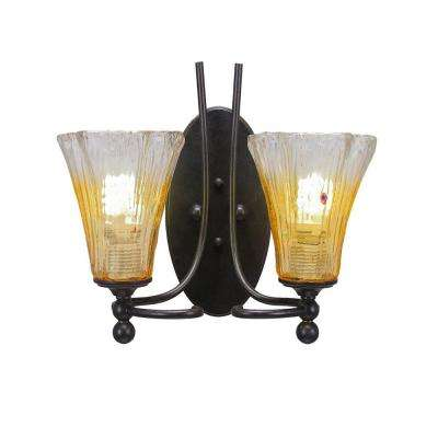 2-Light Dark Granite Sconce with Fluted Gold Champagne Ribbed Glass