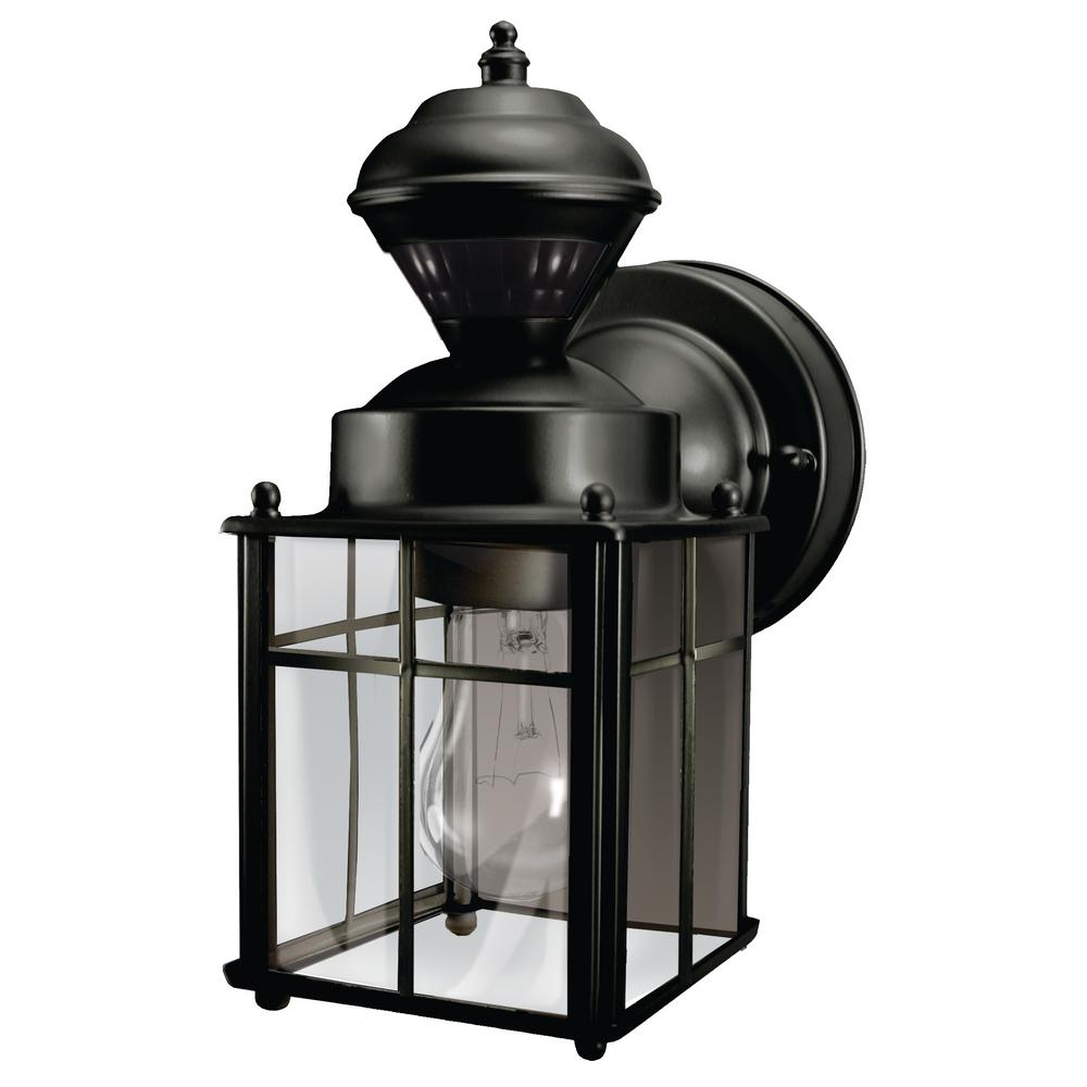 Timer outdoor wall mounted lighting outdoor lighting the home bayside mission 150 degree black motion sensing outdoor lantern mozeypictures Choice Image