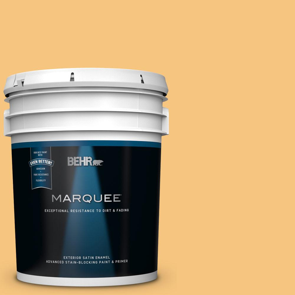 Behr Marquee 5 Gal Ppu6 07 Jackfruit Satin Enamel Exterior Paint And Primer In One 945405 The Home Depot
