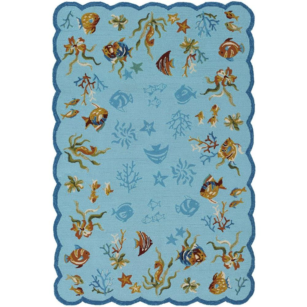 null Outdoor Escape Coral Dive Aqua 3 ft. 6 in. x 5 ft. 6 in. Area Rug
