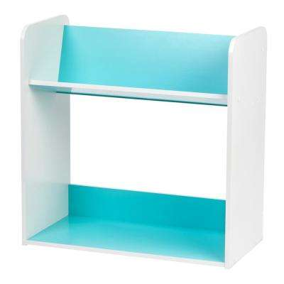 White and Blue 2-Tier Book Cart