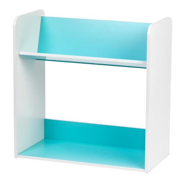 IRIS White and Blue 2-Tier Book Cart