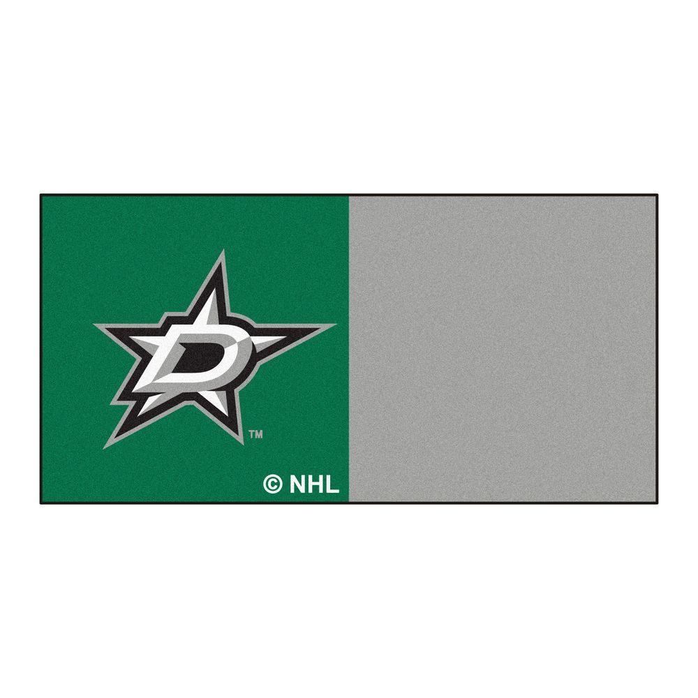 FANMATS NHL - Dallas Stars Green and Gray Pattern 18 in. x 18 in. Carpet Tile (20 Tiles/Case)