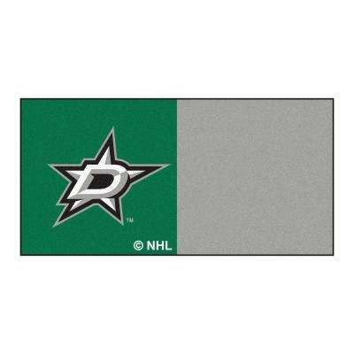 NHL - Dallas Stars Green and Gray Pattern 18 in. x 18 in. Carpet Tile (20 Tiles/Case)