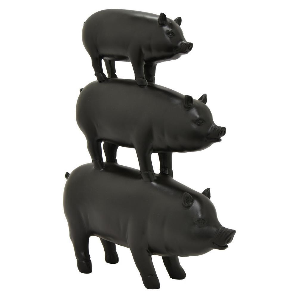 11 in. x 3 in. Pig Family Table Top Decor in Black