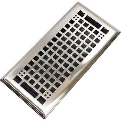 Egg Crate 4 in. x 10 in. Steel Floor Register in Brushed Nickel